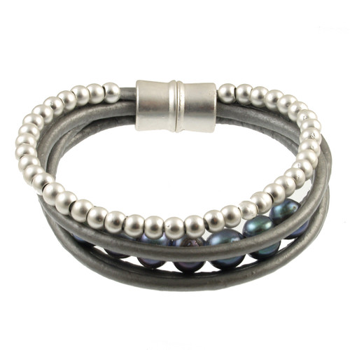 6159-1 - Matte Silver/Grey Grey Pearl Magnetic Leather Bracelet
