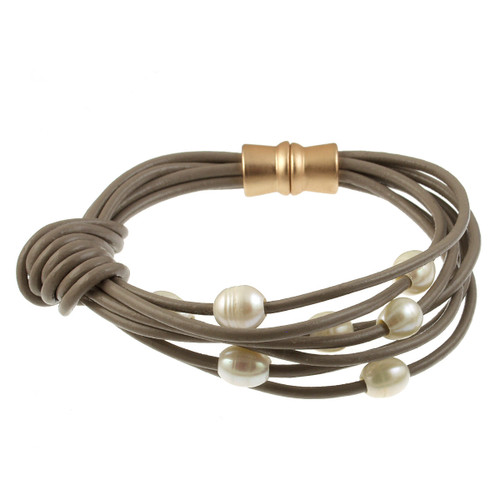 6160-87 - Matte Gold/Taupe White Pearl Knot Magnetic Leather Bracelet