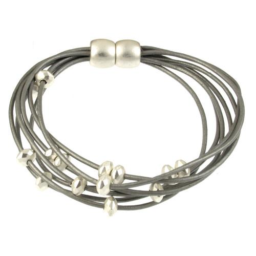 6169-1 - Matte Silver/Light Grey Petite Bead Magnetic Leather Bracelet