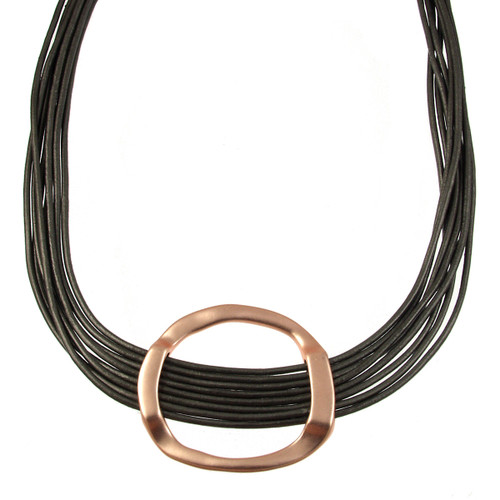 5112-63 - Matte Rose Gold/Dark Grey Hammered Circle Magnetic Leather Necklace