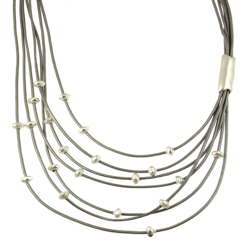 5110-1 - Matte Silver/Light Grey Side Gather Magnetic Leather Necklace