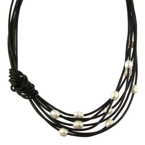5170-4 - Matte Silver/Black/White Pearls With Side Knot Magnetic Necklace