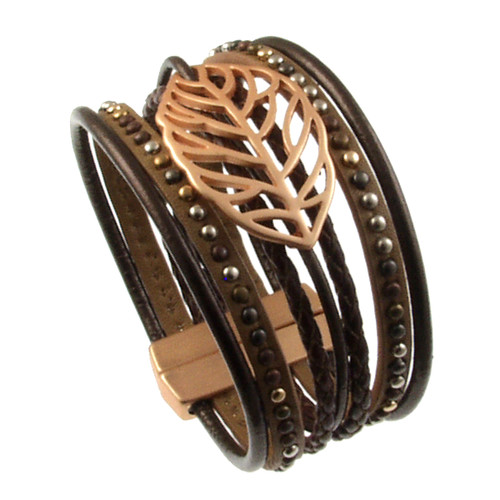 6193-59 - Matte Gold/Metallic Copper Autumn Leaf Magnetic Bracelet