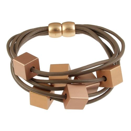6172-87 - Cube Magnetic Bracelet Matte Rose Gold/Gold Taupe