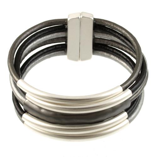 6105-79 - Matte Silver/Matte Gunmetal Tube Magnetic Bracelet