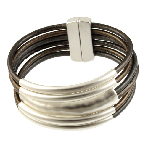 6105-64 - Matte Silver/Metallic Bronze Tube Magnetic Bracelet