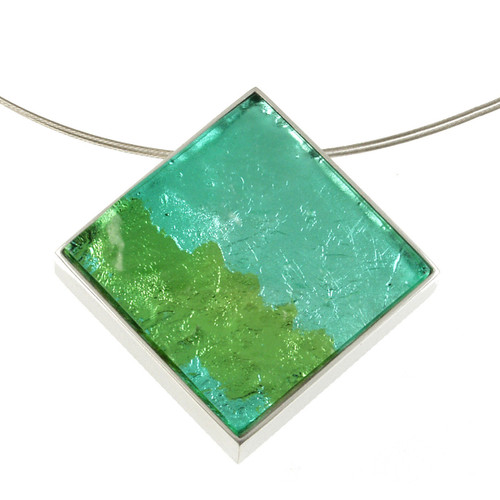 2126-3 - Dichroic Resin Diamond Pendant Lime