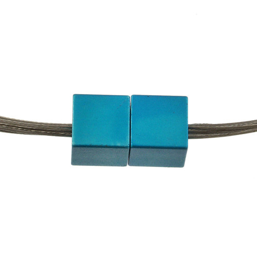 5117-2 - Magnetic Cube Pendant Matte Silver/Turquoise