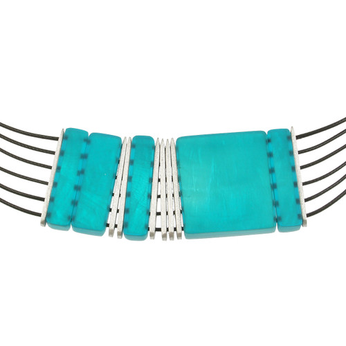 7051-2 - Multi-Strand Square Necklace Turquoise
