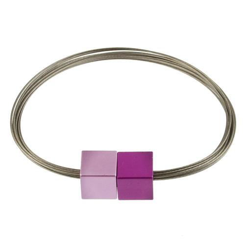 6171-4 - Magnetic Cube Bracelet Matte Silver/Purple/Pink