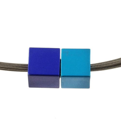 5117-28 - Magnetic Cube Pendant Matte Silver/Turquoise/Dark Blue