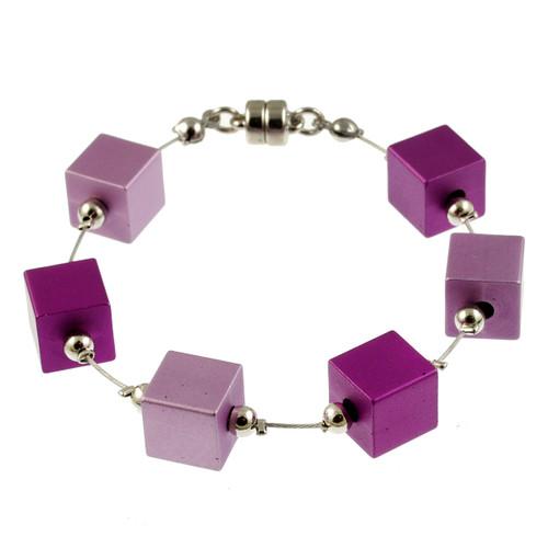 6283-4 - Magnetic Cubes Bracelet Matte Silver/Purple/Pink