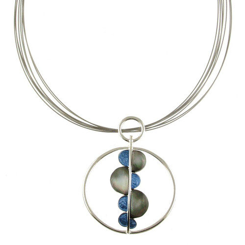 2835-2 - Dots & Circle Pendant Blue/Black