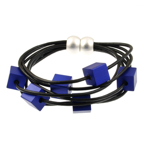 6172-28 - Cube Magnetic Bracelet Matte Silver/Black/Dark Blue