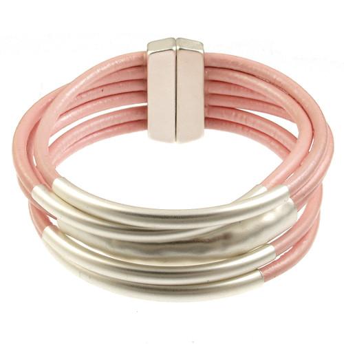 6105-84 - Matte Silver/Metallic Pink Magnetic Bracelet