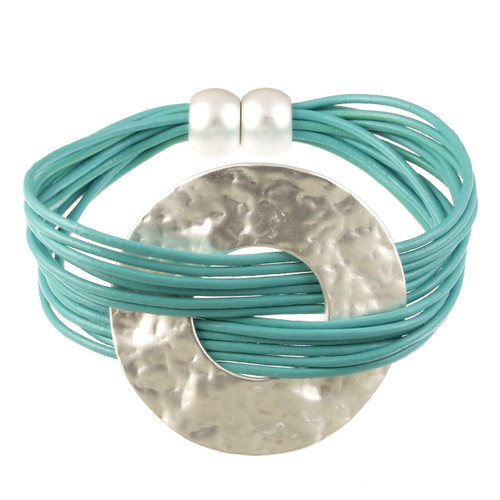 6710-5 - Matte Silver/Turquoise Hammered Metal Wide Ring Magnetic Bracelet