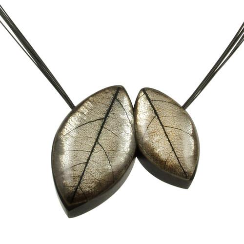2930-7 - 2 Pce. Mango Leaf Pendant Baked