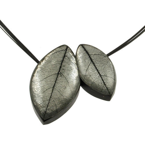 2930-8 - 2 Pce. Mango Leaf Pendant White