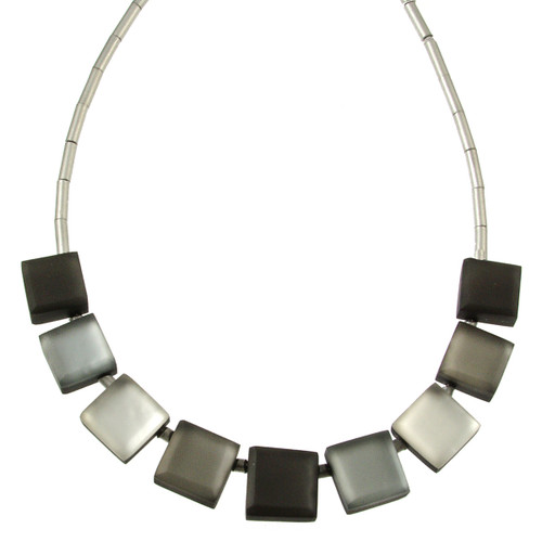 2388-9 - Square Buttons Necklace Grey Combi