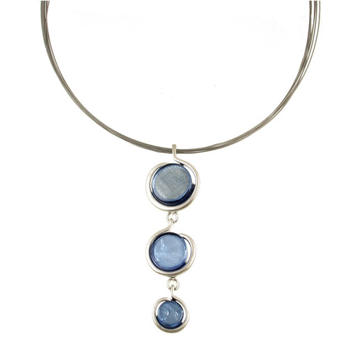 317-2 - Drop Circle Pendant Blue