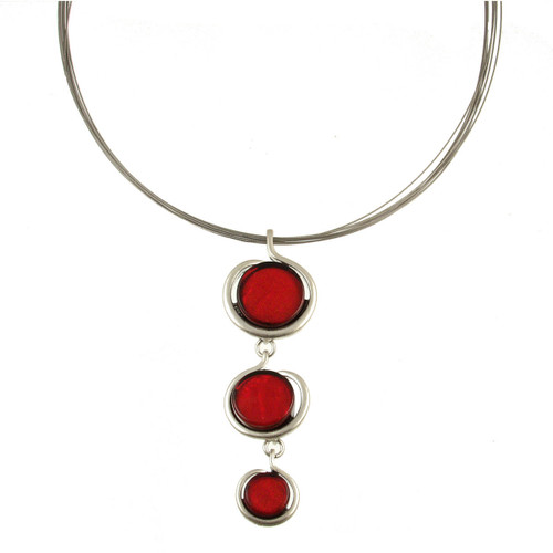 317-1 - Drop Circle Pendant Red
