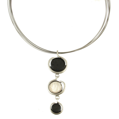 317-9 - Drop Circle Pendant Grey/White
