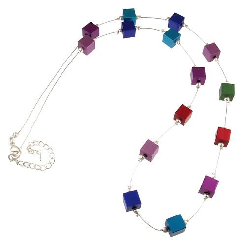 5146-2 - Multi Cube Necklace Multi Color
