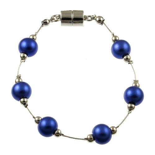 8043-28 - RHODIUM/DARK BLUE BRACELET