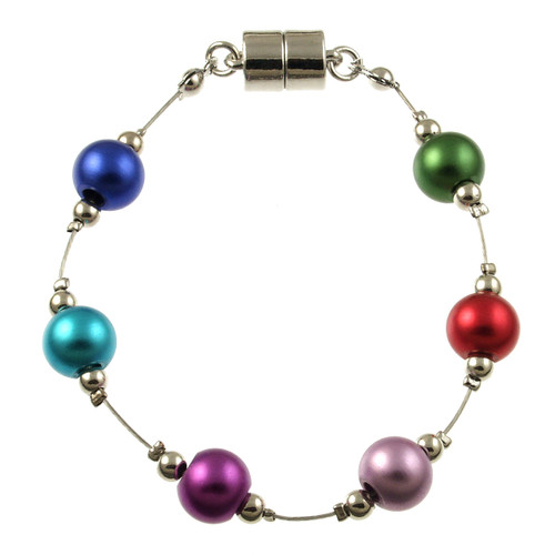 8043-4 - RHODIUM/MULTI COLOR  BRACELET