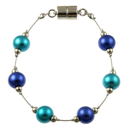 8043-2 - RHODIUM/TURQUOISE/DARK BLUE BRACELET