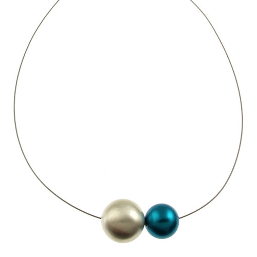5130-22 - MATTE SILVER/SILVER/TURQUOISE NECKLACE