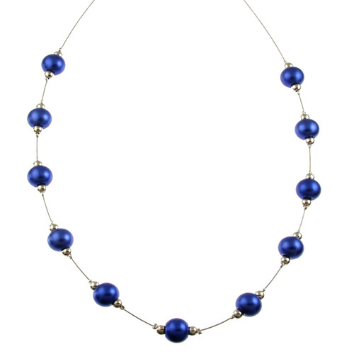 5143-28 - RHODIUM/DARK BLUE NECKLACE