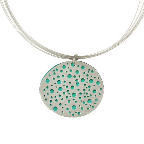 1779-2 - Reversible Mini Holes Pendant w/ Magnetic Lock Turquoise