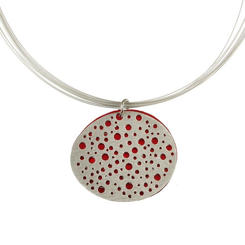 1779-1 - Reversible Mini Holes Pendant w/ Magnetic Lock Red