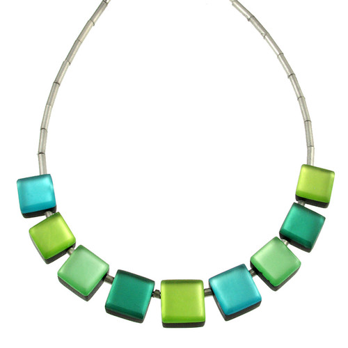 2388-3 - Square Buttons Necklace Orchard Combi