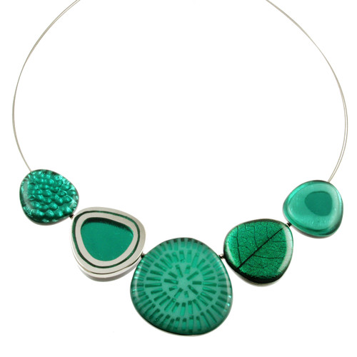 2378-2 - Natural Multi-textured Necklace Aqua