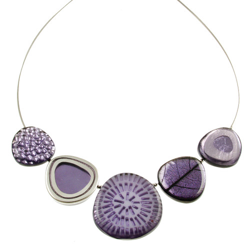 2378-4 - Natural Multi-textured Necklace Lilac