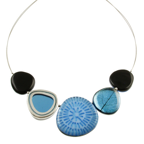 2378-28 - Natural Multi-textured Necklace Denim