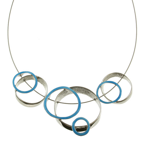 3401-2 - Multi-Ring Necklace Light Blue