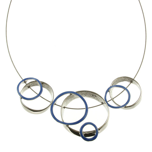 3401-28 - Multi-Ring Necklace Dark Blue
