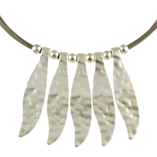 5157-1 - Matte Silver Feather Wire Necklace