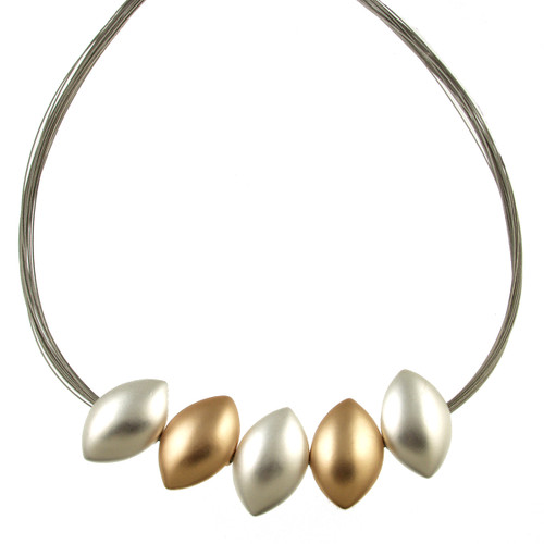5199-1 -  Matte Silver/Gold Combi Wire Necklace