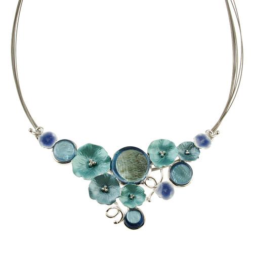3555-2 - Multi-Flower Necklace Blue