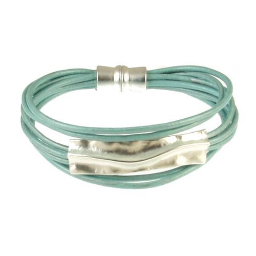 6957-106 - Matte Silver/Blue Bar Bracelet