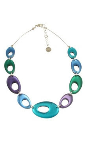 2216-10 - Hollow Nuggets Necklace Fjord Combi