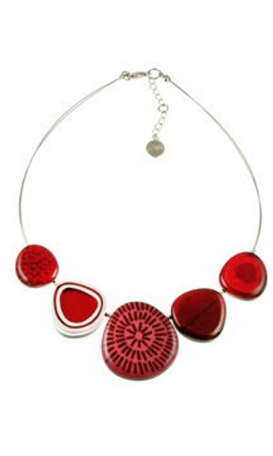 2378-1 - Natural Multi-textured Necklace Red