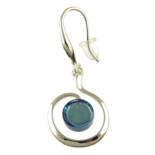 3258-2 - Shiny Silver/Light Blue Swirl Earring