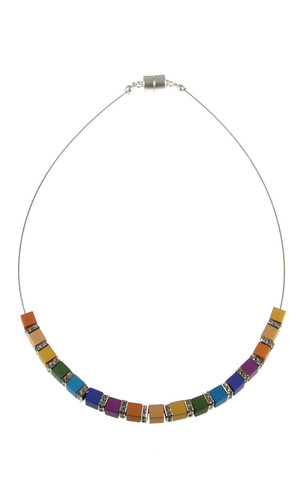 5638-1 - Matte Silver/Multi Color With Crystal Necklace