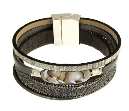 6210-1 - Matte Silver/Grey Magnetic Bracelet