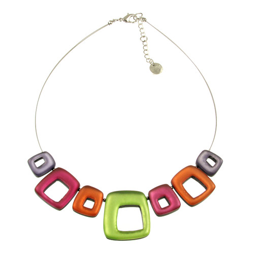 415-55 - HOLLOW SQUARES NECKLACE - SHERBET COMBI